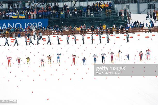 Skiiers start in the Cross Country Skiing Women's 4x5km Relay during day nine of the Nagano Winter Olympic Games at Snow Harp on February 16 1998 in...