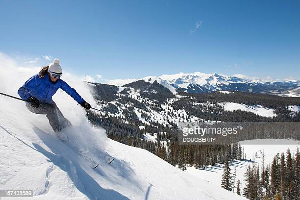 skiing action - female skier stock pictures, royalty-free photos & images
