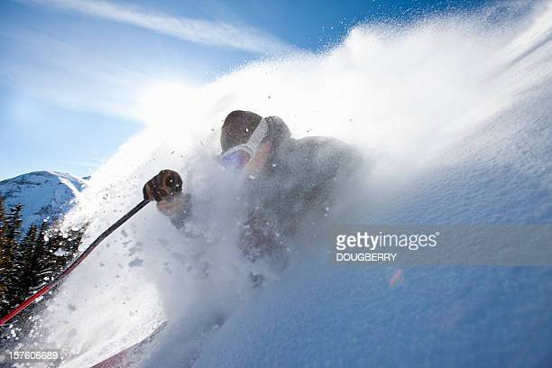 skiing action - powder snow stock pictures, royalty-free photos & images