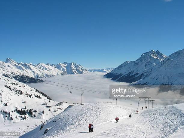 Skiing and ski lift in the Austrian Alps, Arlberg