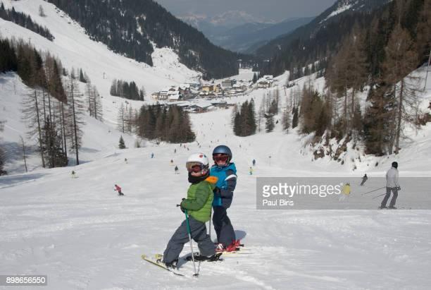 Skiing area in the Alps, Zauchensee/Flachauwinkl ski resort, Austria