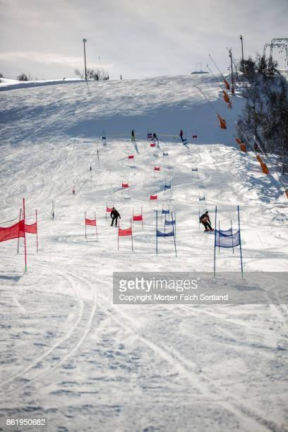 skiing at geilo, norway. - ski slalom stock-fotos und bilder