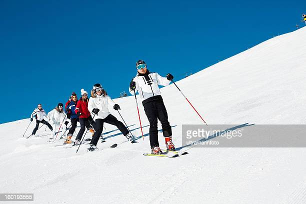 Skiing class on the mountain slope