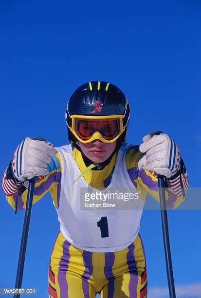 Skiing, female competitor, portrait, low angle view