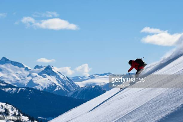 skiing fresh powder in the mountains - downhill skiing stock pictures, royalty-free photos & images