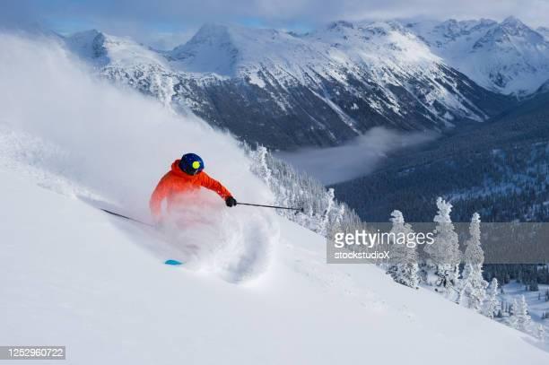 スキー休暇で新鮮なパウダーをスキーする - アルペンスキー ストックフォトと画像