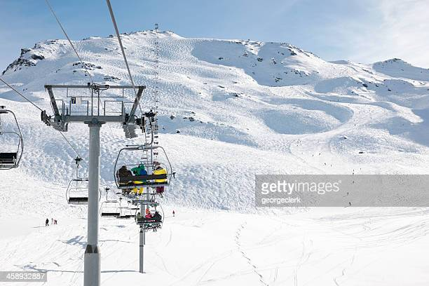 skiing holiday in france - meribel stock photos and pictures