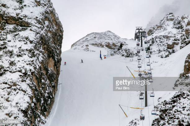 Skiing in Cortina d'Ampezzo, Dolomites, Italy