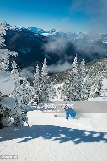 skiing in deep powder through the trees - ski holiday - fotografias e filmes do acervo