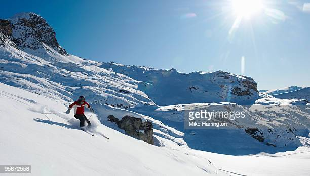 skiing in la plagne. - la plagne stock photos and pictures