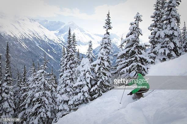 skiing in powder.