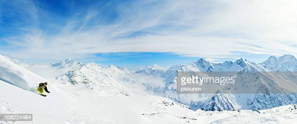 skiing in powder snow - blue shoe stock pictures, royalty-free photos & images