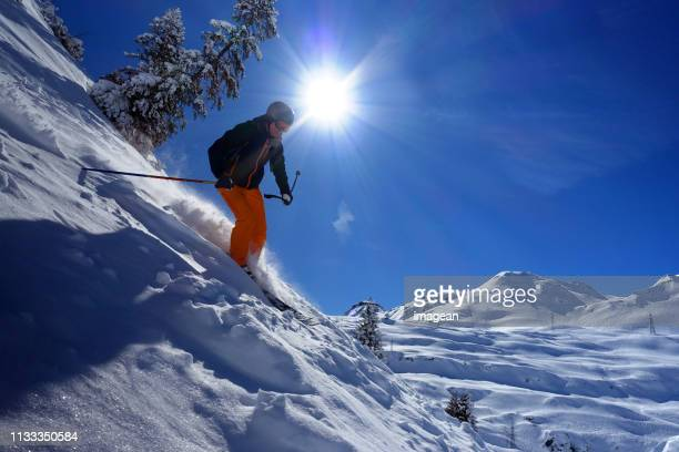 skiing in st. anton, austria - lech stock photos and pictures
