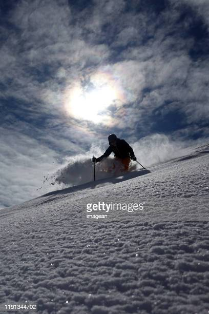 skiing in st. anton, austria - winter sport stock pictures, royalty-free photos & images