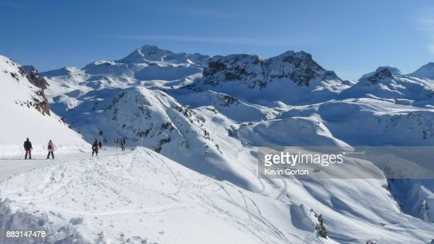 skiing in the mountains - la plagne stock photos and pictures