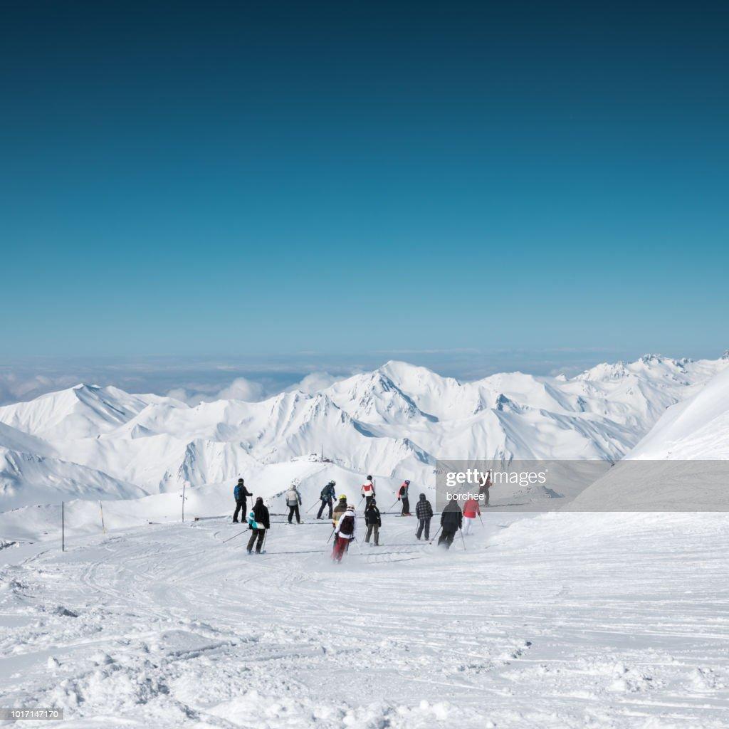 Skiing In Val Thorens : Stock Photo