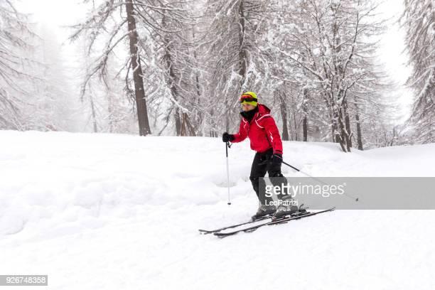 Skiing in winter - A guy having fun in winter