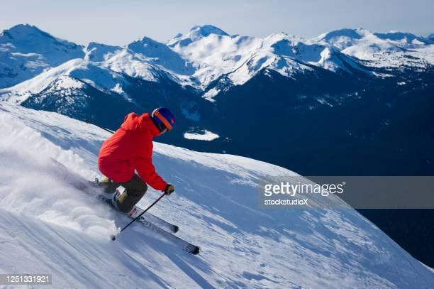 ski par une journée ensoleillée - sport d'hiver photos et images de collection