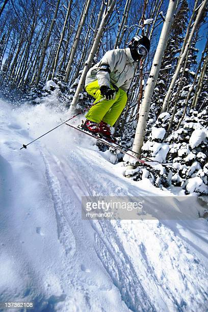 skiing over a jump - park city utah stock pictures, royalty-free photos & images