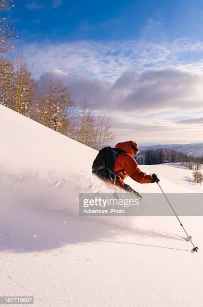 esquí polvo, colorado - vail colorado fotografías e imágenes de stock