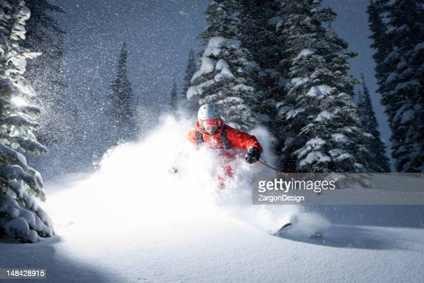 skiing powder - powder snow stock pictures, royalty-free photos & images
