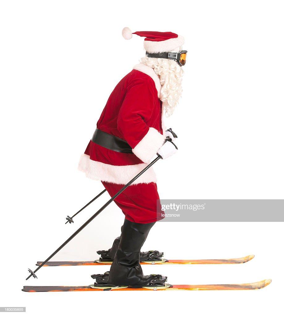 Skiing Santa Claus on White - Sports Series : Stock Photo