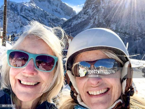 Selfie ski sur les pentes