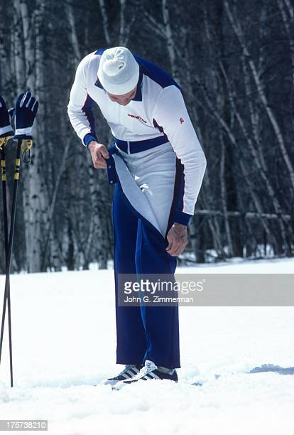 Sporting Look View of Bill Brewster wearing stretch suit warmup pants jacket and vest by Demetre Lake Placid NY CREDIT John G Zimmerman