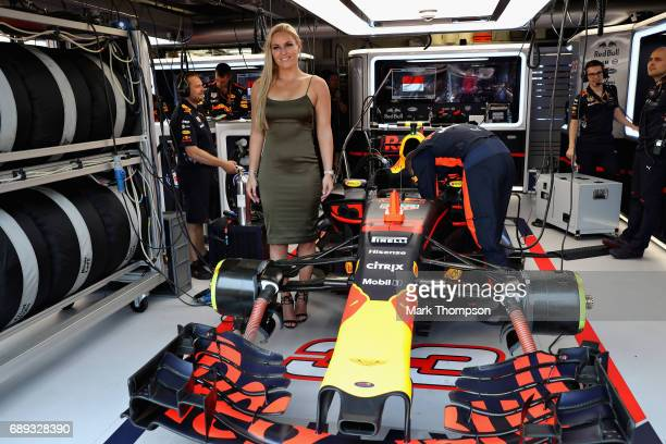 Skiing superstar Lindsey Vonn in the Red Bull Racing garage during the Monaco Formula One Grand Prix at Circuit de Monaco on May 28 2017 in...