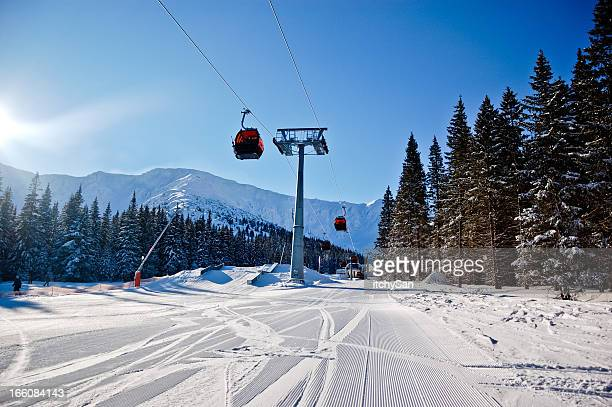 Skiing track and overhead cable cars