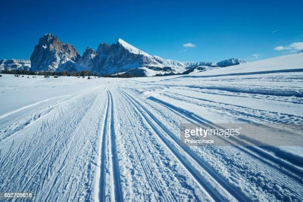 skiing tracks in snow covered Dolomite alps landscape with mountains