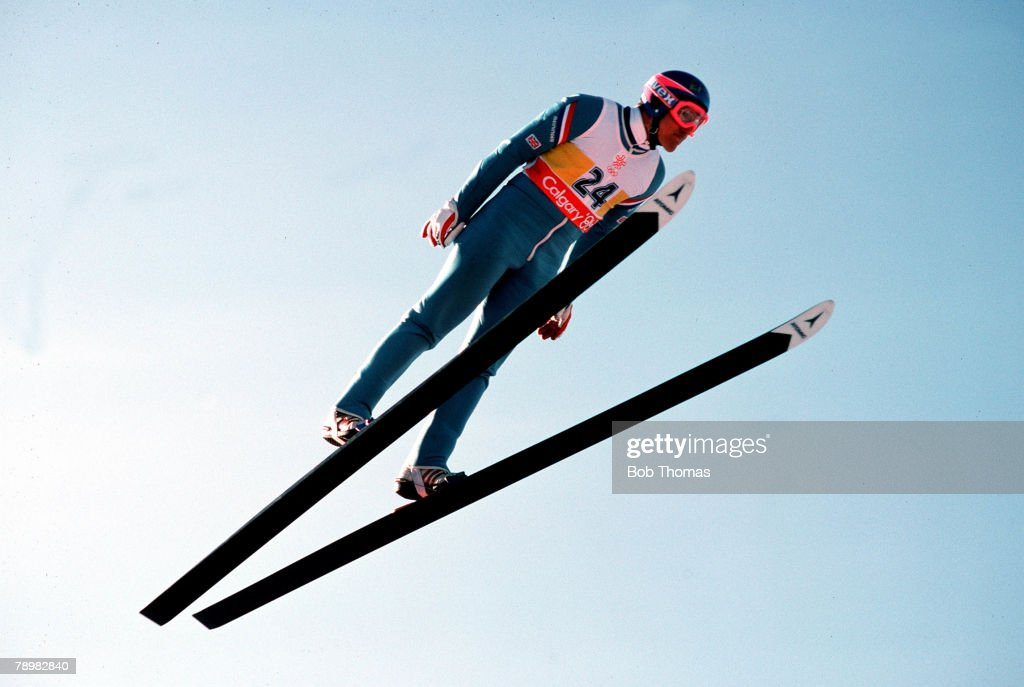 Ski-Jump, 23rd February 1988, Great Britain's Eddie the 'Eagle' Edwards is pictured in mid-flight at the 1988 Winter Olympic Games in Calgary, Canada.