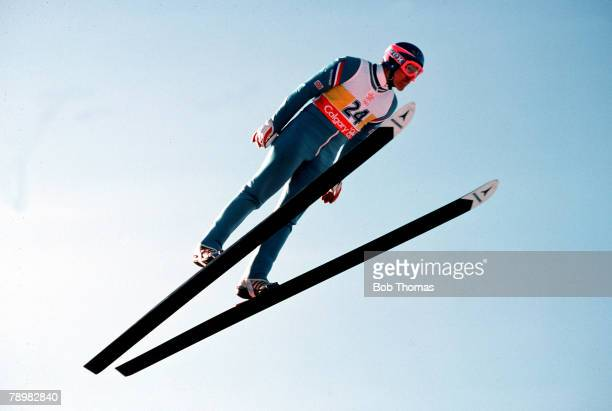 SkiJump 23rd February 1988 Great Britain's Eddie the 'Eagle' Edwards is pictured in midflight at the 1988 Winter Olympic Games in Calgary Canada