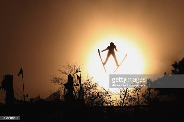A skijumper competes during the Nordic Combined Team Gundersen LH/4x5km Ski Jumping Competition Round on day thirteen of the PyeongChang 2018 Winter...
