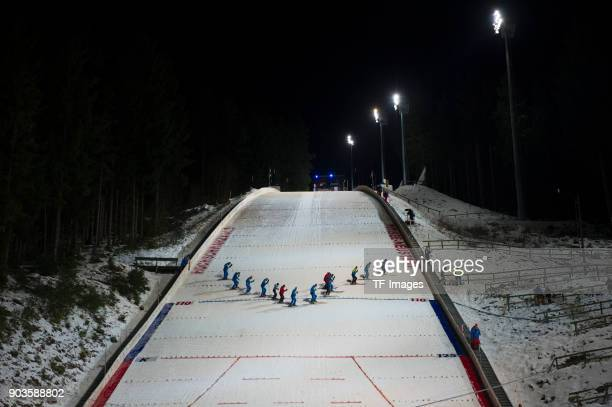 Skijumping hill in the floodlight is seen during the FIS Ski Jumping World Cup on December 09 2017 in TitiseeNeustadt Germany