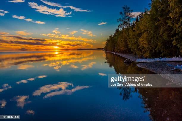 Skilak Lake spectacular sunset Alaska the Aleutian Mountain Range elevation 10197 feet