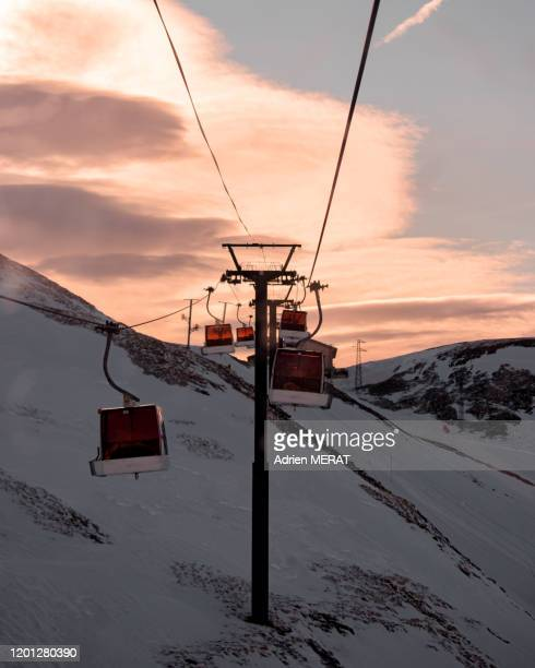 skilift in sunrise - france stock pictures, royalty-free photos & images