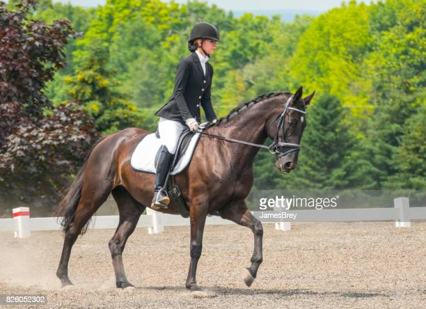 Skilled rider on magnificent steed in dressage exhibition