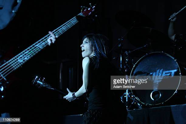 Skillet rhythm guitar and keyboardist Amy Cooper performs during the 2011 Avalanche Tour at the Roy Wilkins Auditorium on Saturday March 26 2011 in...