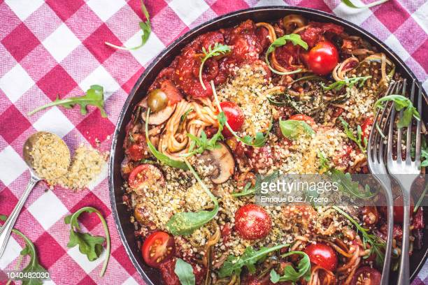 Skillet Spaghetti on Gingham Tablecloth For Two