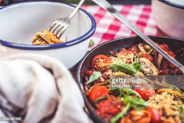Skillet Spaghetti Ready to Eat in Bowl