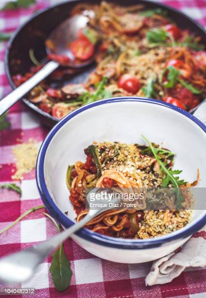 Skillet Spaghetti Ready to Eat, Twirled on a Fork