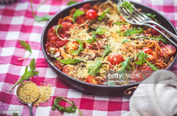 Skillet Spaghetti Rucula and Parmesan Toppings