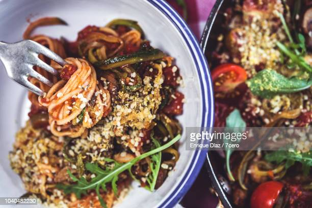 Skillet Spaghetti with Rucula and Hemp Parmesan, Twirled on a Fork