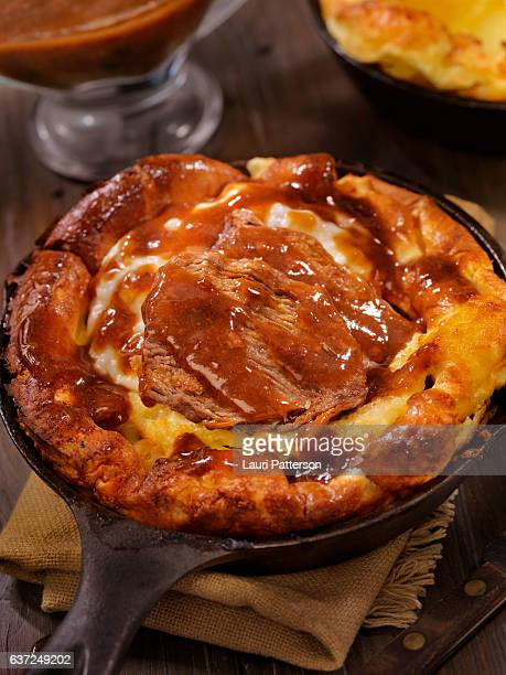 Skillet Yorkshire Pudding with Pot Roast and Mashed Potatoes