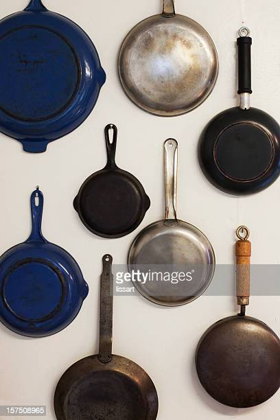 Skillets Hanging on a Wall