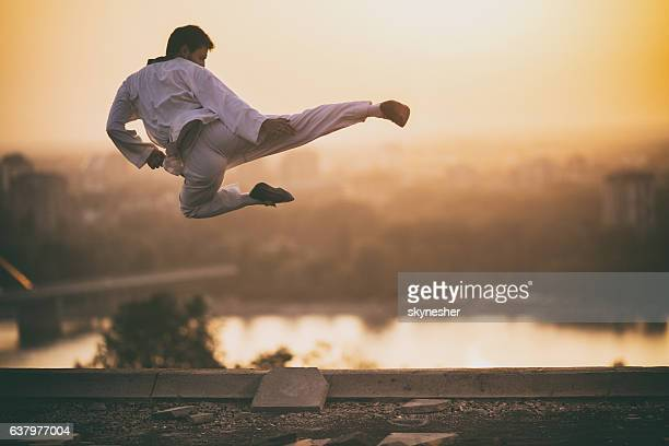 Skillful martial artist performing fly kick at sunset.