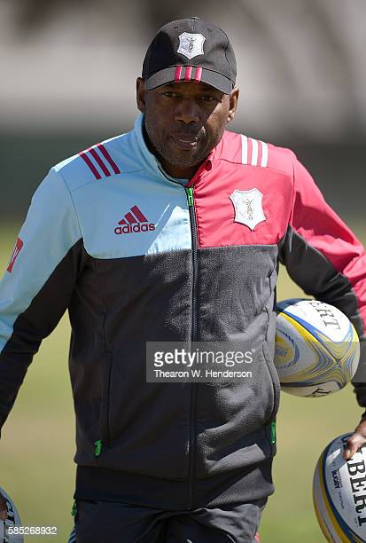 Skills coach Collin Osborne of Harlequins looks on as his team practice at San Francisco Golden Gate RFC on August 2 2016 in San Francisco California