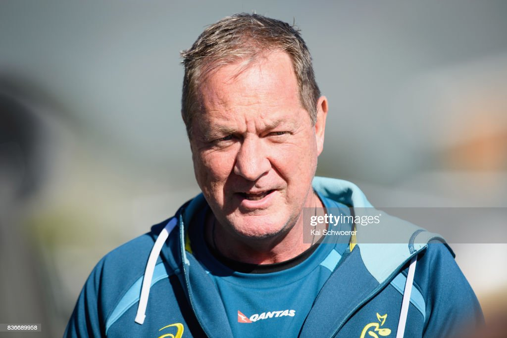 Skills coach Mick Byrne speaks to the media prior to an Australian Wallabies training session at Linwood Rugby Club on August 22, 2017 in Christchurch, New Zealand.