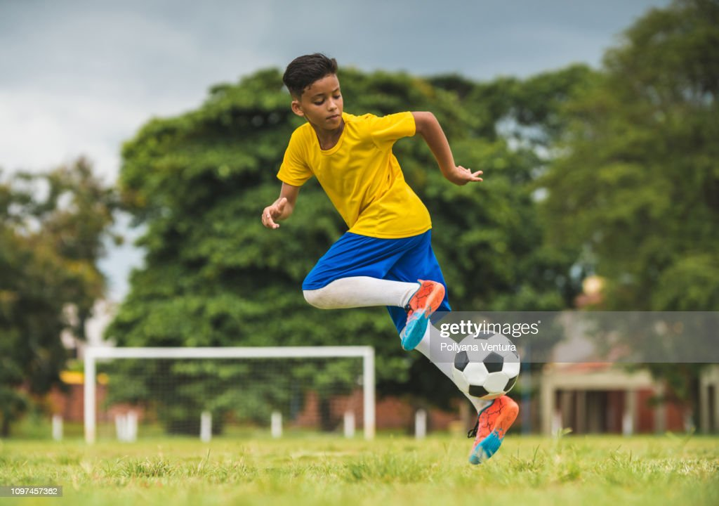Skills with the soccer ball : Stock Photo